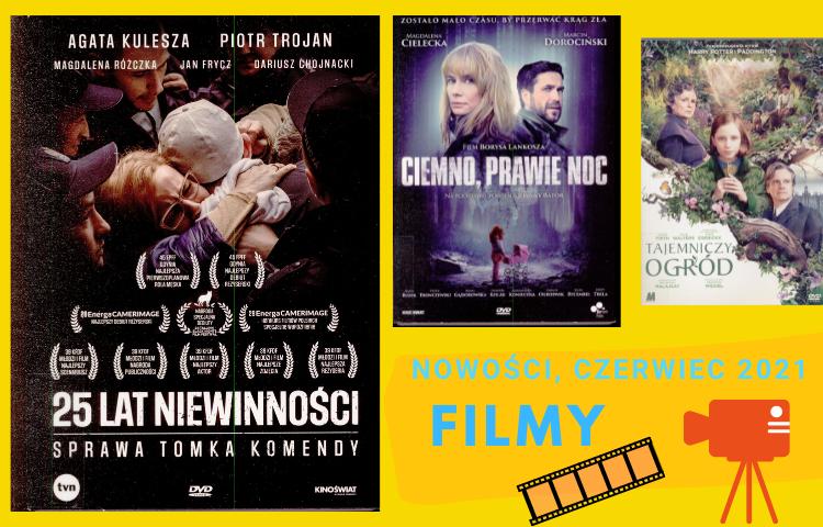 Grafika przedstawiająca okładki filmów, czerwiec 2021