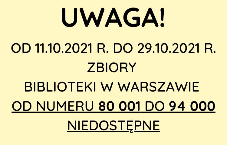 Skontrum od 11.10.2021 do 29.10.2021 Zbiory biblioteki w Warszawie