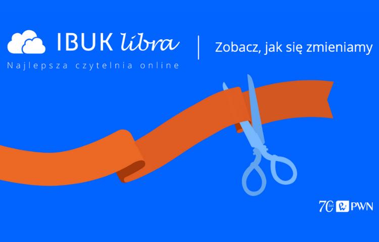 grafika promoujaca ibuk libra. Pomaranczowa wstarzka na niebieskim tle przecinana przez nozyczki