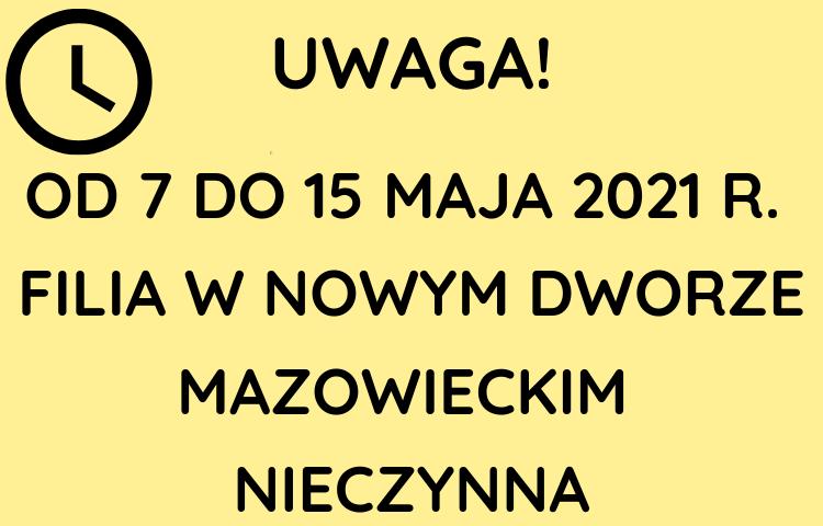 Grafika informująca o skontrum od 7 do 15 maja w Nowym Dworze Mazowieckim